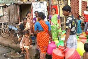 People getting water in India