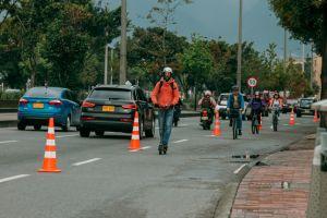 Bike lane in Bogota, Colombia