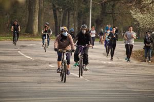 Bike riders in New York City's Prospect park
