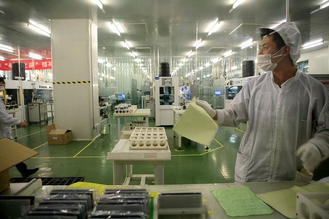 Manufacturing solar cells in Wuxi, China.