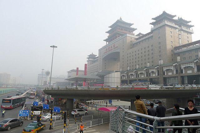 Beijing West Station in smog