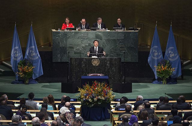 Matteo Renzi speaking to the UN