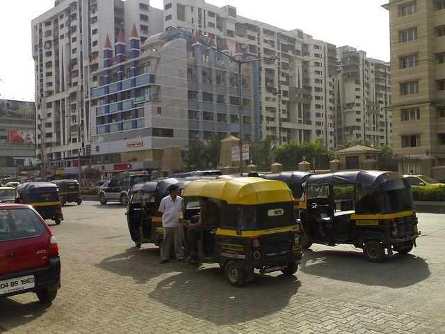 Auto rickshaws outside office