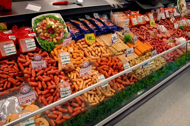 The weiner aisle at Tesco.