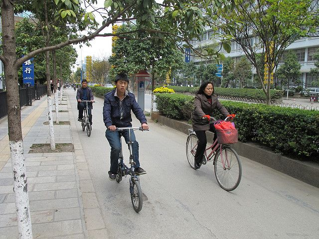 cyclists in China
