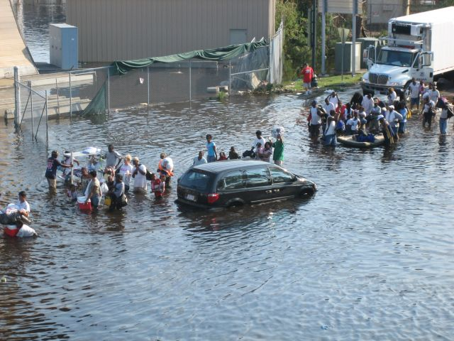 Residents stranded in flooding during the aftermath of Hurricane Katrina.