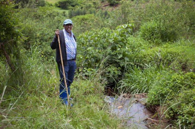 Improving water management in African countries can boost their climate resilience. Waretu Abera (pictured here) of Ethiopia's Water Land Resource Centre, is an expert working on the issue. Photo by Abbie Trayler-Smith, Panos Pictures/Food and Land Use Coalition.