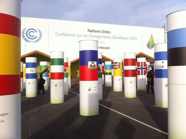 Exterior view of the hall of COP21 negotiations on the Bourget exhibition center site.