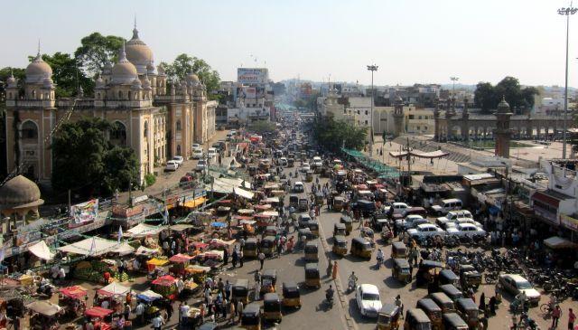 A busy street in Charminar, Hyderabad. Photo by Indi Samarajiva/ Flickr.