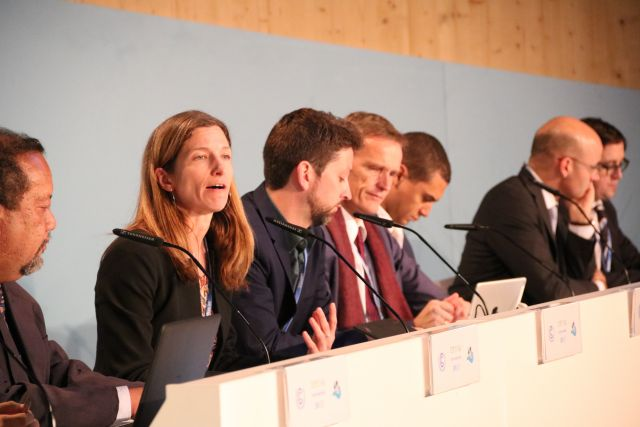 WRI's Taryn Fransen speaks at a COP23 event.