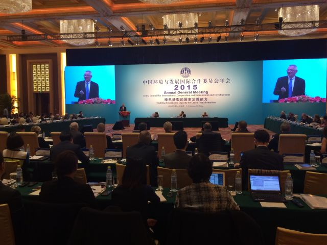 WRI President and CEO Andrew Steer presents Green Finance task force report at CCICED annual general meeting in Beijing, China. Photo by Lawrence MacDonald.