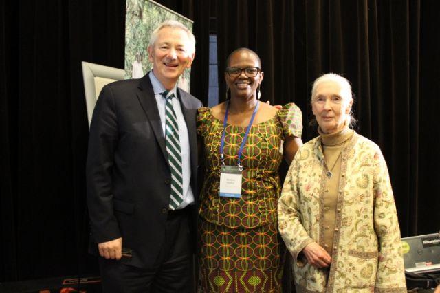 Wanjira Mathai (center) with Andrew Steer and Jane Goodall at AFR100 launch, Paris. Photo credit: Sarah Weber