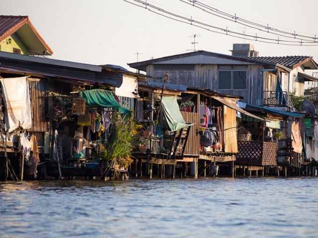 Housing along the canals in Bangkok.