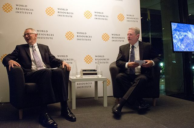 WRI President and CEO Dr. Andrew Steer with former Vice President Al Gore. The World Resources Institute hosts a reception and dinner, followed by a conversation with former Vice-President Al Gore at the Swedish Embassy (The House of Sweden) in Washington, DC on Wednesday, October 8, 2014.  Photo credit: James R. Brantley