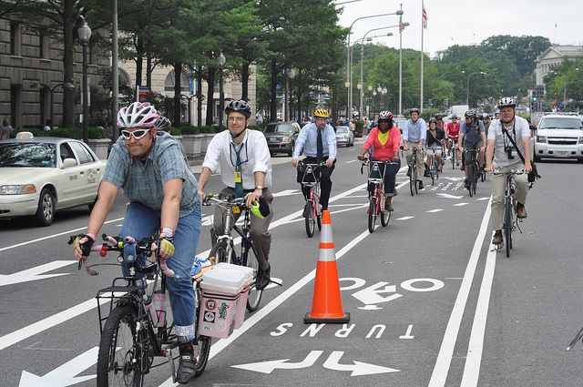 Commuters use bike lanes in Washington, DC. Photo by Bill McNeal, Flickr