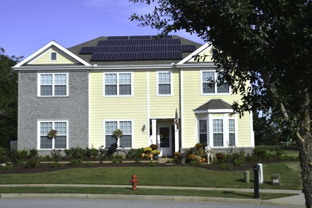 Solar panels on the roof of a house in South Carolina