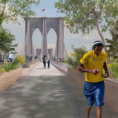 Rendering of the proposed Brooklyn Bridge Forest