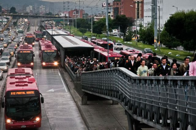 New research shows that bus rapid transit (BRT) systems like Bogotá's TransMilenio (pictured) have a wide range of benefits for quality of life in cities. Photo credit: EMBARQ