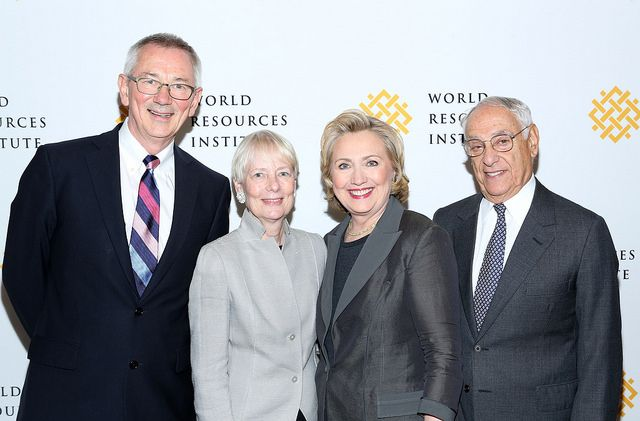 From left to right: Andrew Steer, Pamela Flaherty, Secretary Hillary Rodham Clinton, and Jim Harmon.