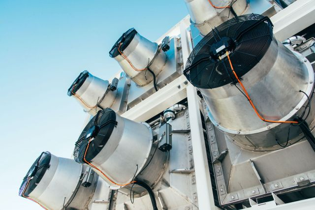 A close-up of direct air capture machines.