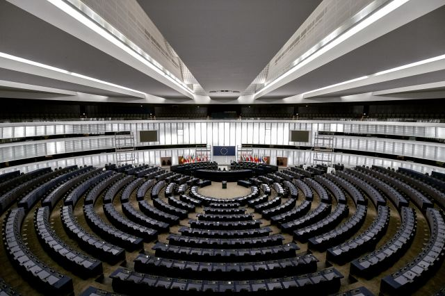 The inside of the European Parliament