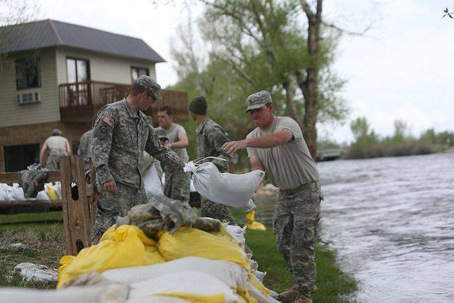 Flooding in Saratoga, Wyoming. Photo by SFC McGuire/Wyoming National Guard