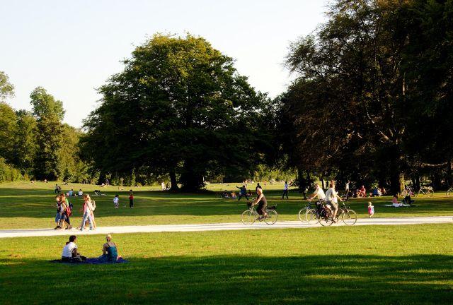 People walking through a park.