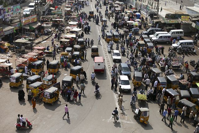 A crowded street in Hyderabad, India. Photo credit: Nicolas Mirguet/Flickr