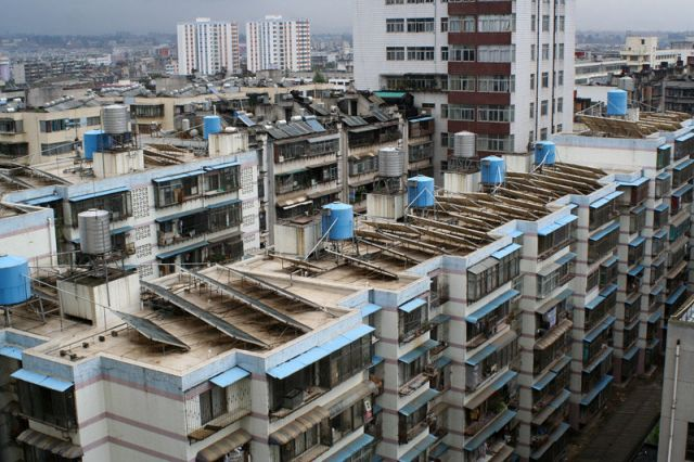 Rooftop solar panels in Kunming, China