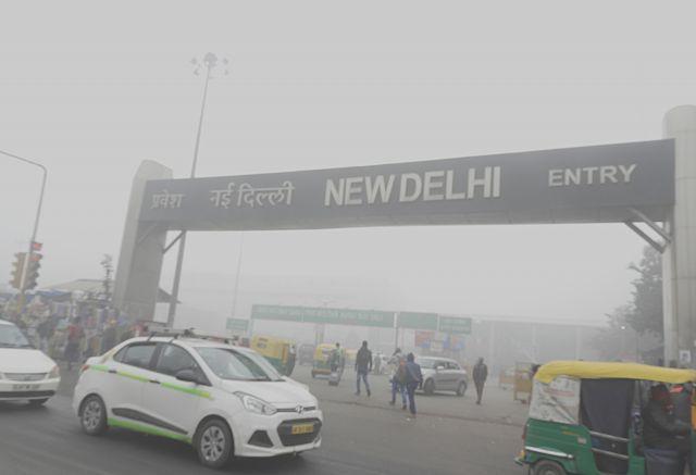 Visible air pollution in Delhi, India