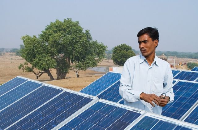 Solar panels in Ajmer, Rajasthan, India. Photo by Knut-Erik Helle/Flickr.