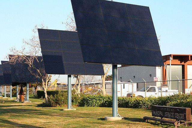 Solar panels in Palo Alto, California. Photo by Richard Masoner/Flickr