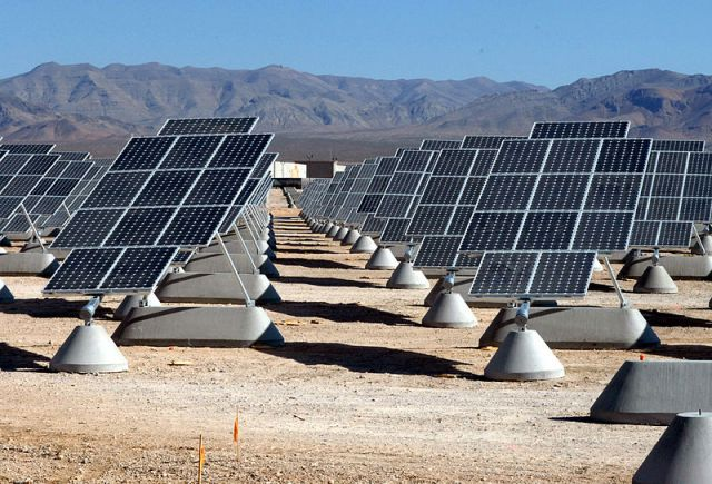 Solar panels at the Nellis Air Force Base in the United States. Photo by U.S. Air Force/Wikimedia Commons