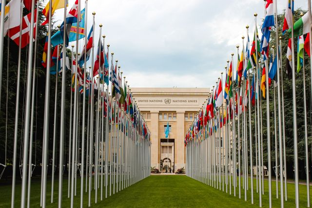 Country flags leading to the entrance of the United Nations.
