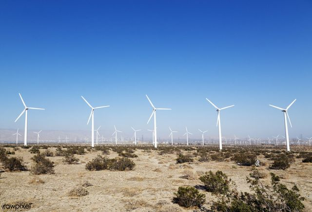 Wind turbines in the California desert.