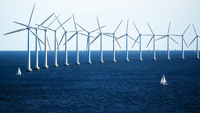 Offshore wind turbines in Denmark. Photo by CGP Grey/Flickr