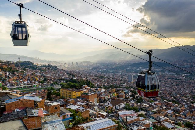 Metrocable in Medellin city center