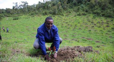 Minister of Environment Hon. Vincent Biruta at a restoration project in Rwanda. Flickr/LAFREC Project