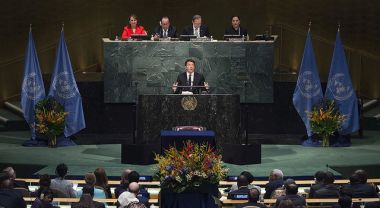 Matteo Renzi speaking to the UN