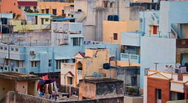 Tight-packed buildings in Chennai, India