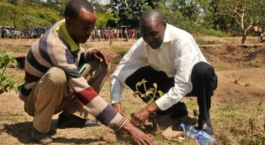 Peter Ndunda, Technical Program Manager, Clinton Climate Initiative (right) plants a tree in Ethiopia's Lake Abaya Region with a local man. Photo by Aaron Minnick