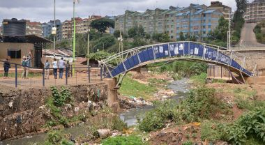 Bridge across creek in Kibera, Nairobi.