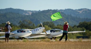 A fuel-efficient airplane takes off during NASA's Green Flight competition.