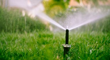water sprinkler on lawn