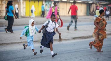 Children crossing street in Tanzania