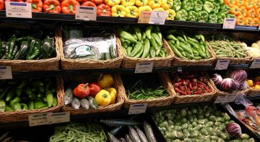 Produce section of grocery store