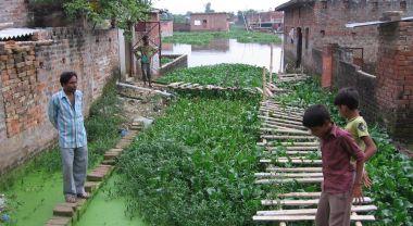 Waterlogged housing in Gorakhpur, India