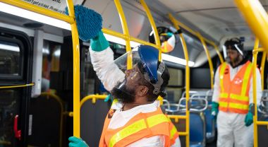 New York City transit workers sanitize subway cars and stations