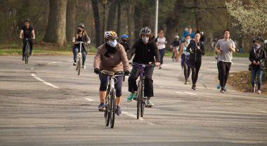 Bike riders in New York City's Prospect park