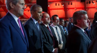 U.S. President Barack Obama, Secretary of State John Kerry and other heads of state at COP21. Credit: White House